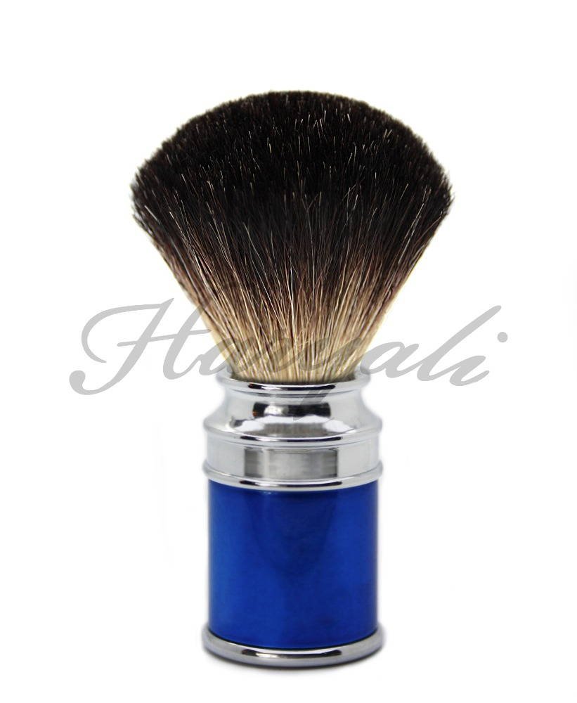 Blue & Metal Colour Mixed Drum Handle Men's Shaving Brush With Black Badger Hair.