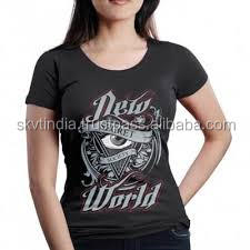 cotton low neck womens t shirt printed