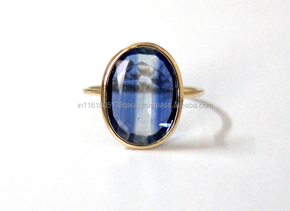 kYANITE RING IN SOLID 14K GOLD UUNIQUE ENGAGEMENT RING