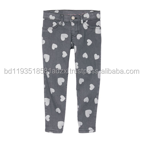 Denim Printed Jeggings For Children