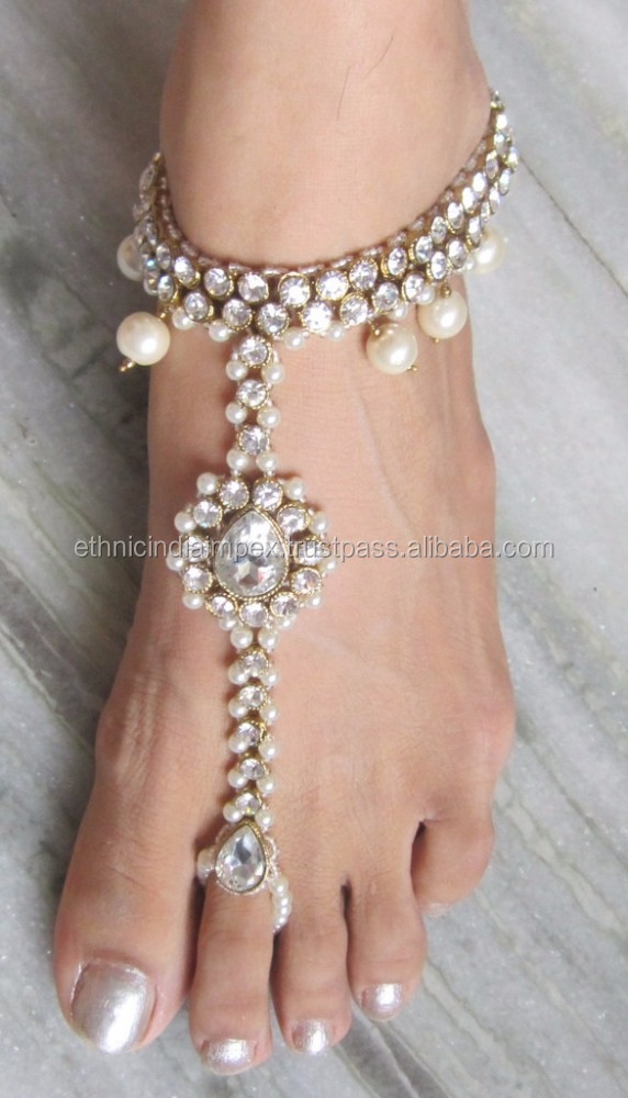 Crystal pearl gold ANKLETS PAYAL feet bracelet pair Barefoot sandal