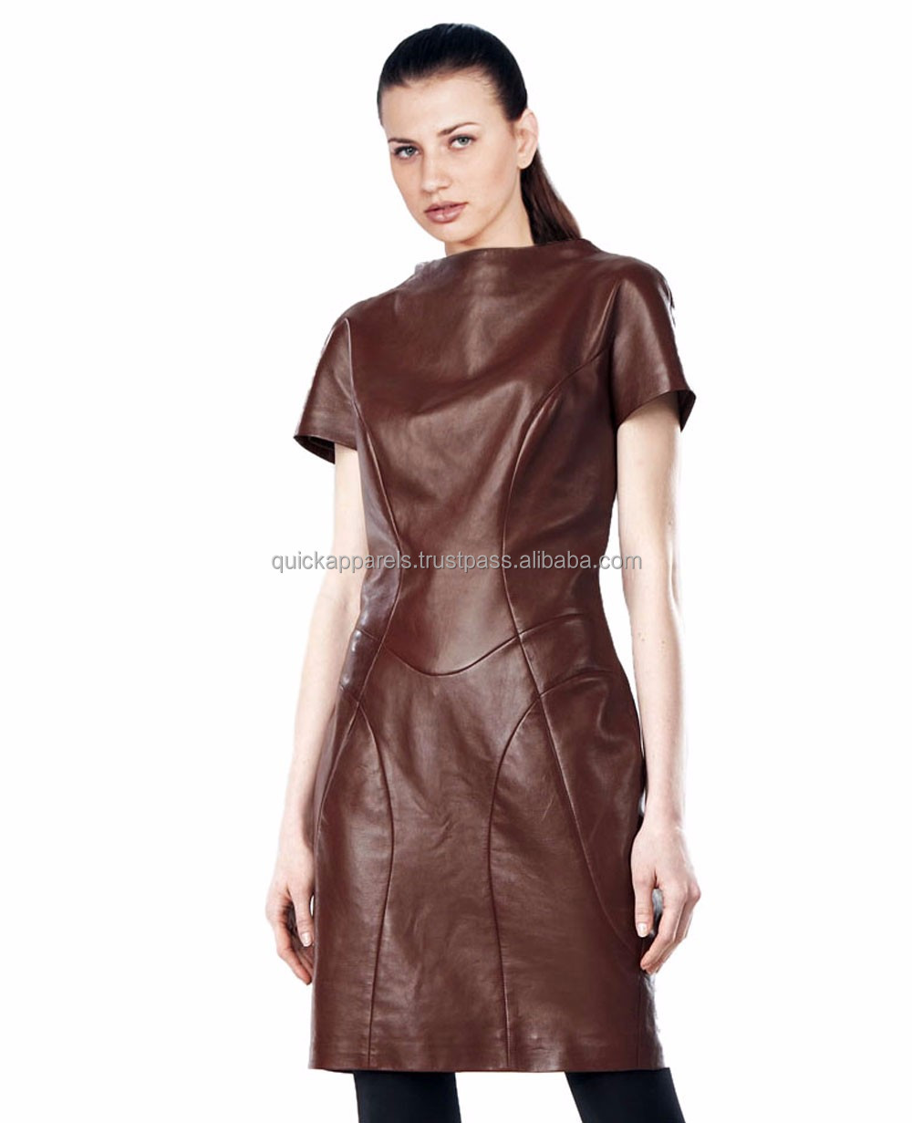 Fashion western design lady dress woman short sleeve tight fashion PU leather dress