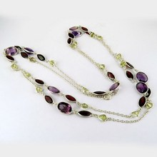 Great Combination Of Multi Color Gems 925 Sterling Silver Necklace, Online Silver Jewellery, Indian Fashion Silver Jewellery