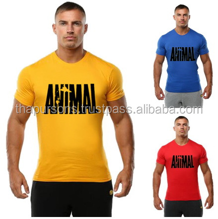 fitness cotton clothes for men print tracksuit t shirt muscle shirt bodybuilding