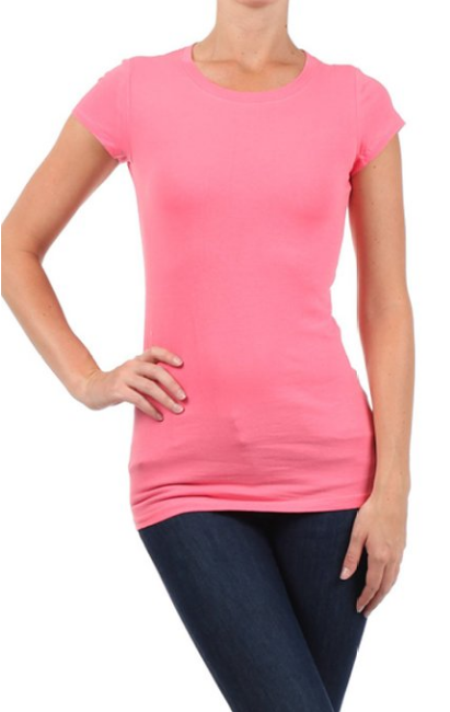 Latest fashion Plain O-neck t-shirts for sexy girls in bulk