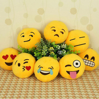 Yellow Round Emoji Smiley Emoticon Cushion Pillow Soft Cute Stuffed Plush Toy Pillow