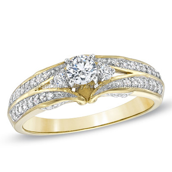 Great 1/2 CT 10K yellow gold Diamond cushion cut solitaire engagement ring build your own wedding rings for sale