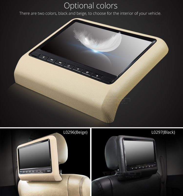 Eonon L0296 9 Inch Digital Clip-on Screen Headrest DVD Player (Tan color)