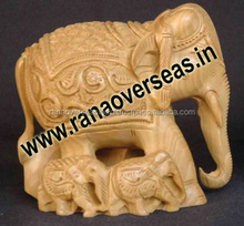 Wooden Carved Elephant With the Baby Elephant Around, Table Top Decorative Wooden Art Figurines