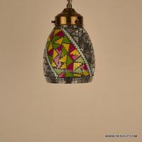 Vintage Slag Glass Lamp Hanging Stained Antique