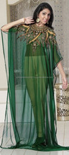 Green color family Kaftan in Faux Georgette fabric with Machine Embroidery, Sequence, Stone, Patch, Lace work.Designer Kaftan