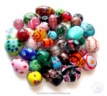 Mixed Lamp work Glass Beads in different color combinations for making bracelets and necklaces from India wholesale manufacturer