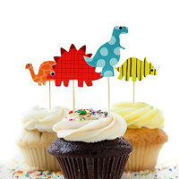 Foam & Paper Cupcake Picks Toppers Dinosaur Multicolor Mixed Pattern 9cm x3.9cm, 1 Packet(24 PCs/Packet)