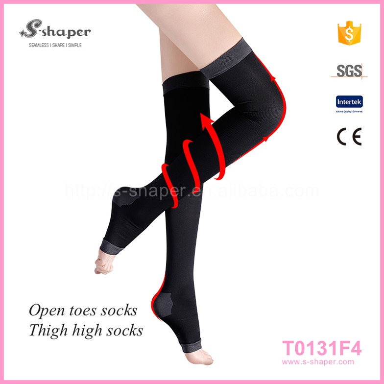 Simple Soft Convenent Jacquard Knee High Lady Compression Stockings