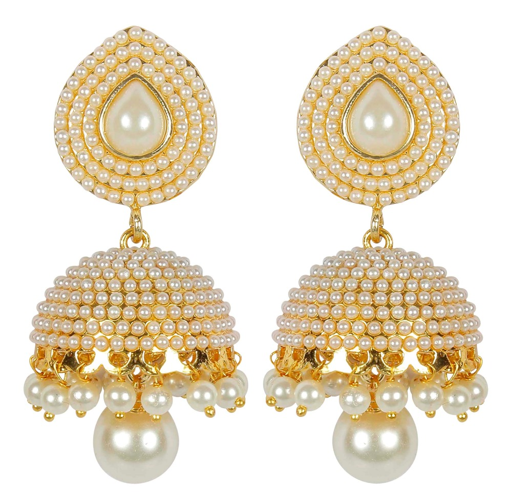 Indian Gold Plated Traditional Stylish Pearl Small Jhumki Earrings For Women