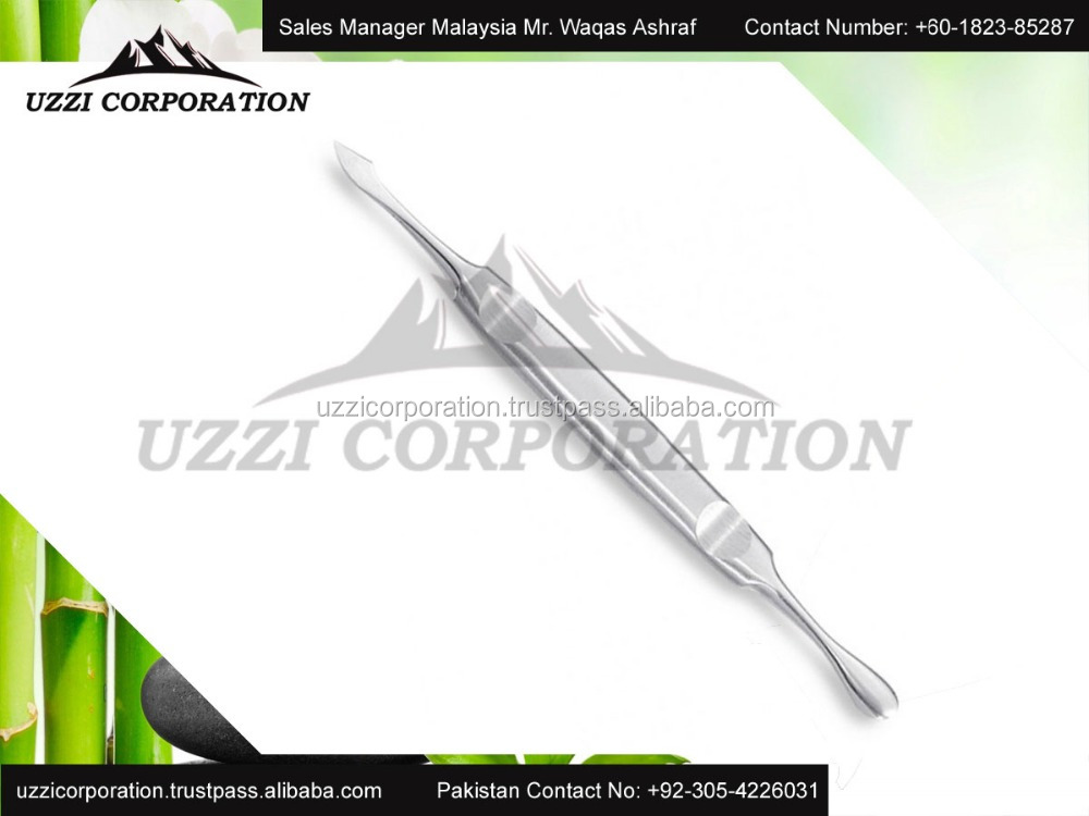 Stainless steel nail cuticle pusher and nail cleaner