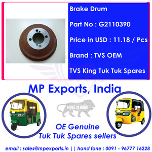 Tuk tuk 3 Wheeler Spares Brake Drum Tvs King