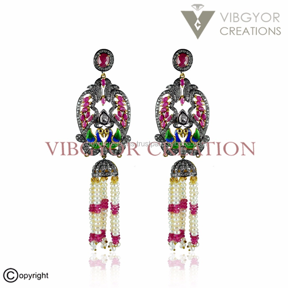 Gemstone ruby emerald jhumki 925 sterling silver 14k gold stud earring wholesale jewelry pave diamond earring