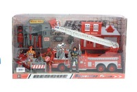 FIRE STATION WITH THE RESCUE TRUCK AND MOTORCYCLE