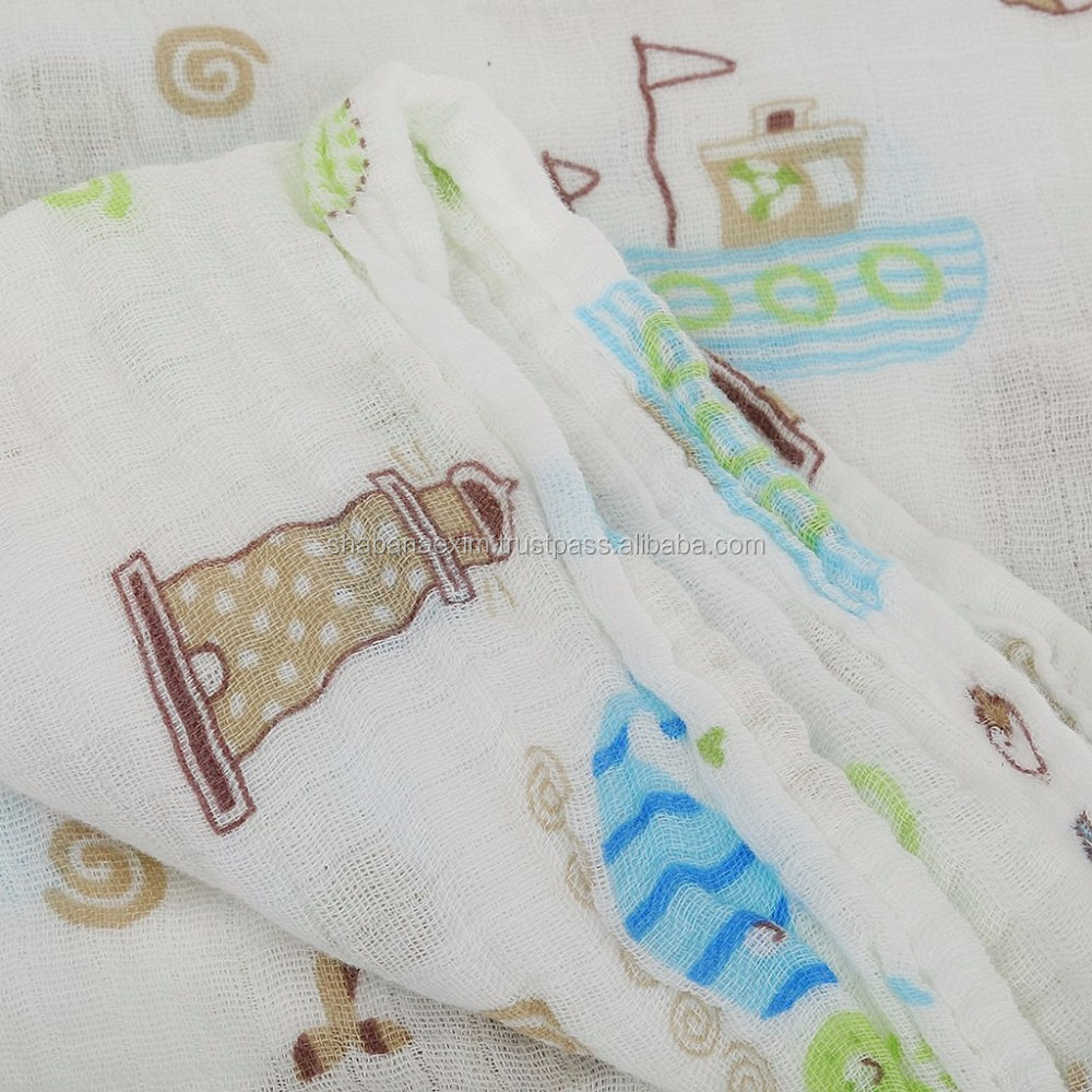 woven gauge 100% cotton muslin baby swaddle burp cloth tummy blanket