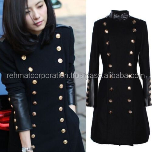 NEW Womens Double Breasted Military Coats Stand Collar Wool Leather Long Jackets