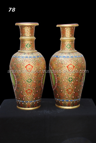 Asian Painting 2 Pcs ceramic flower pot planter tans and browns with design Floral Pot