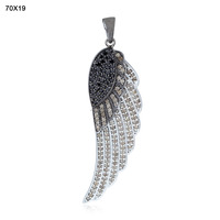 Angel Feather Wing Black and White Diamond Pendant, 92.5 Sterling Silver Angel Feather Wing Diamond Pendant Necklace Wholesale
