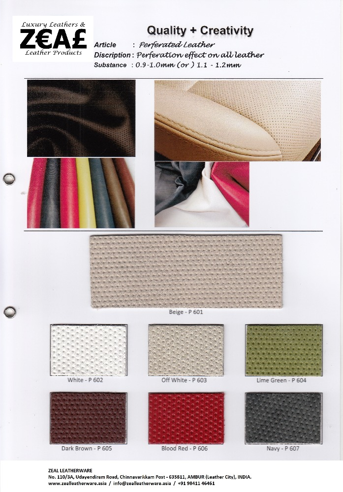 Genuine Finished Leather Perforated (P600)
