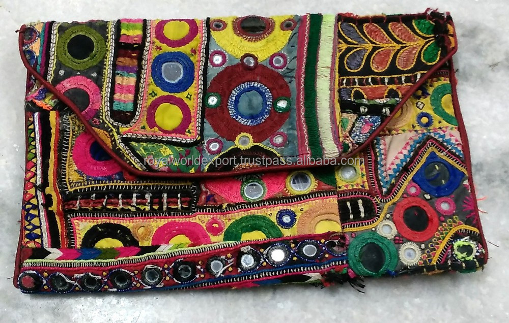 Women hot selling Latest Women Fashionvintage indian handmade tribal traditional antique etnic Gypsy banjara cotton clutch bag