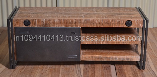 industrial vintage Rustic wood tv cabinet