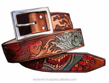 Genuine Western Leather belt with tattoo style