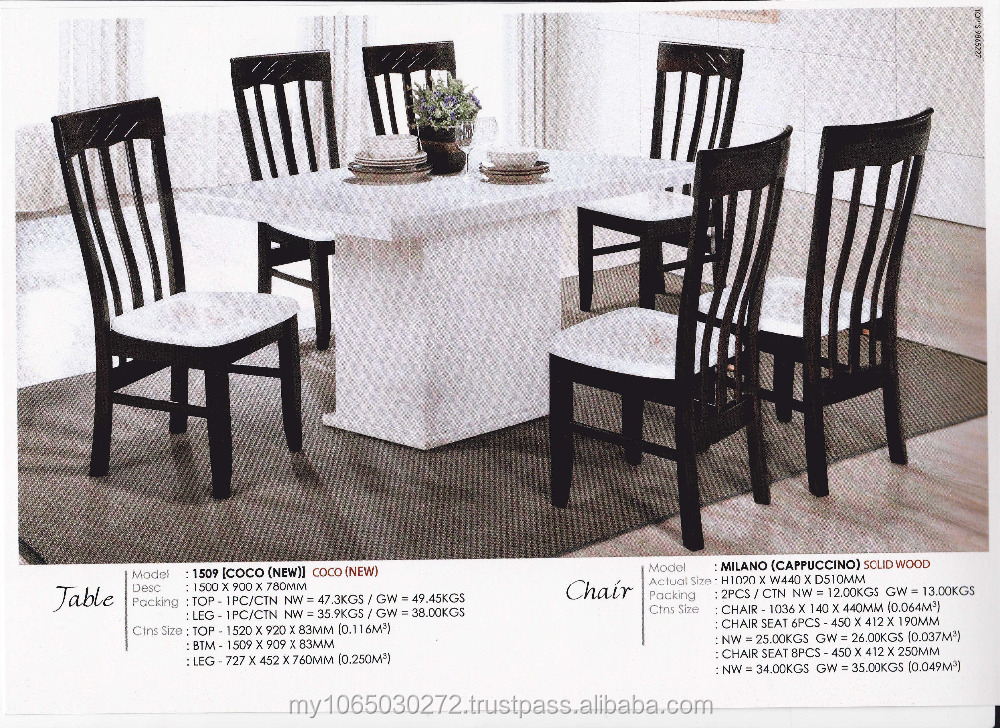 1 + 6 marble / crystal dining room table & Milano Chair with marble seat