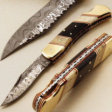 Brass Bolster Damascus steel Folding Pocket knife