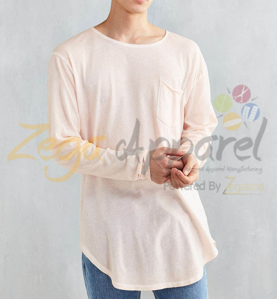 Zegaapparel online shopping india 100% cotton long sleeve curved hem longline tshirt