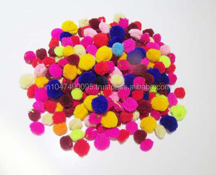 Decorative colorful mixed wool handmade pom pom