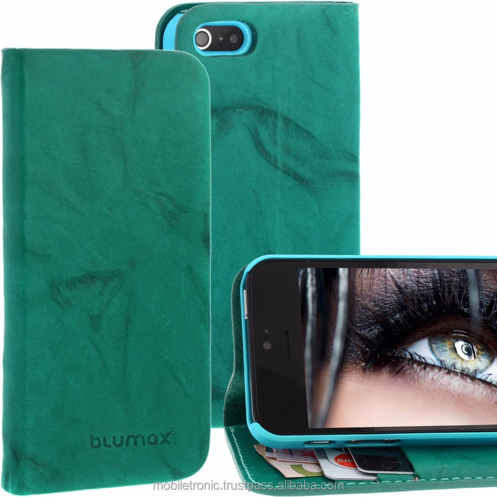 Geniune Leather Lucca Bookstyle case for iPhone 5S / 5 Washed Turquoise Cow Leather