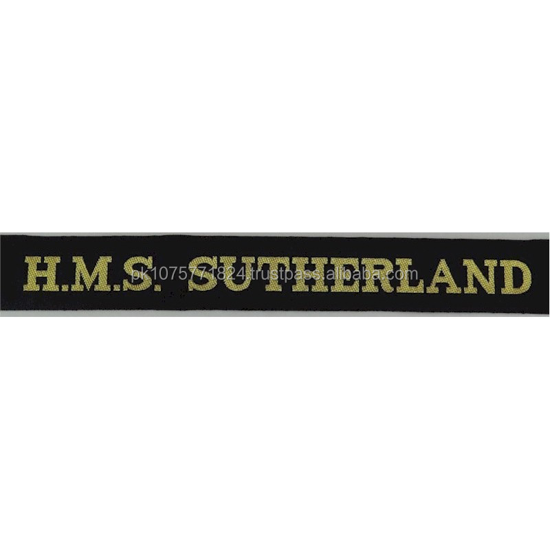 WOVEN BADGES HMS Sutherland (Type 23 Frigate) Cap-Tally Woven Naval cap badge or cap tally