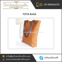 Tan Color Genuine Leather Tote Bag for Wholesale Buyers