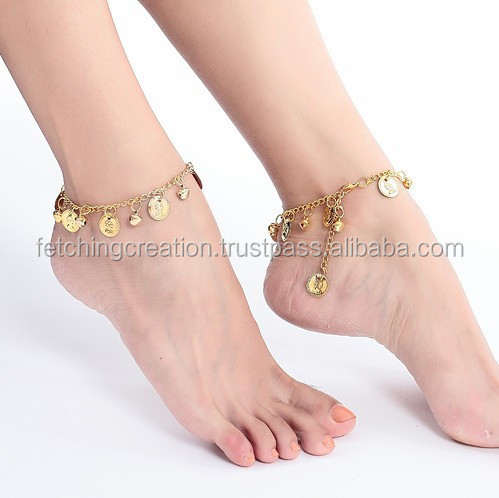 Belly dacing beautiful pendant golden chain metal anklet