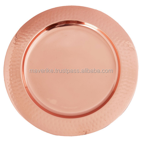 copper Charger Plate/ copper wedding table plate