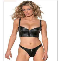 Ladies Leather Bra with Underwear