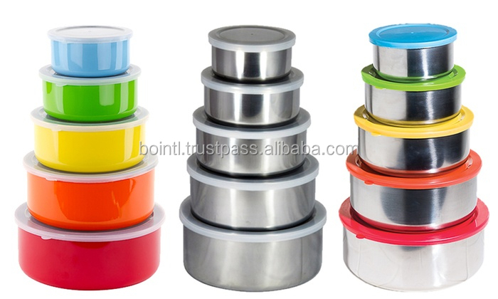3 PCS Stainless Steel Bowl Set With Plastic Lid