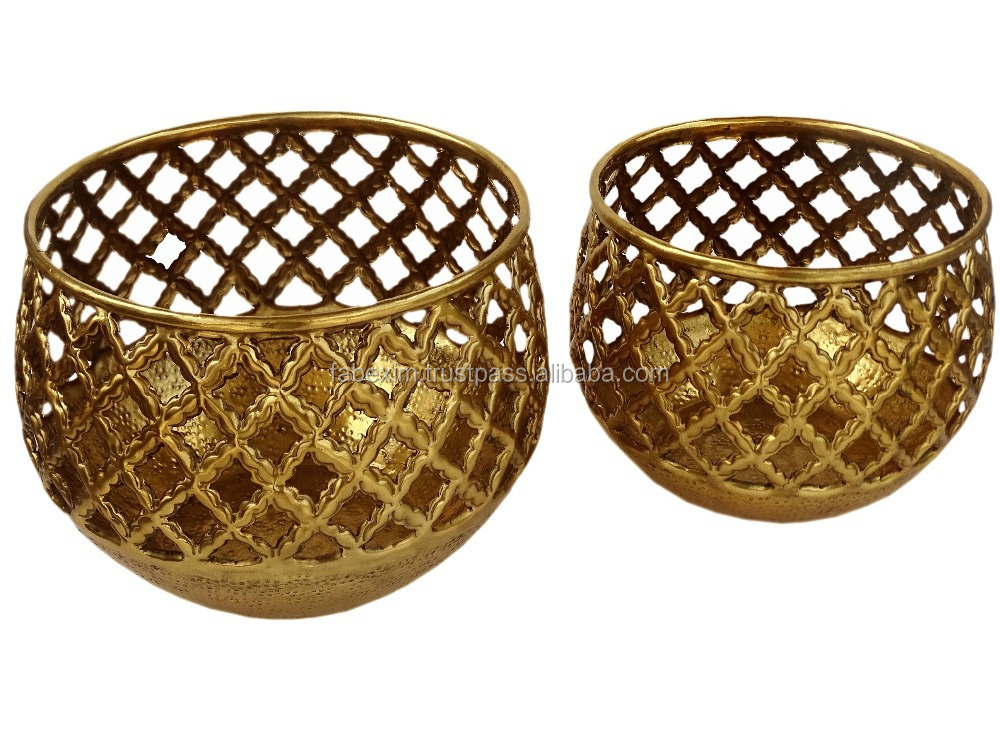 Brass Perforated Planter , Interior Planter , Antique Brass Planter Pot