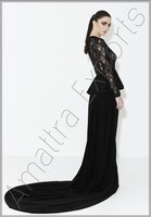 Black fish tail long beaded dress for Ladies