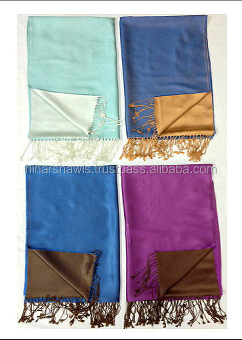 Reversible Pure Silk Scarves & Shawls, Double side color scarves, Handmade silk scarf