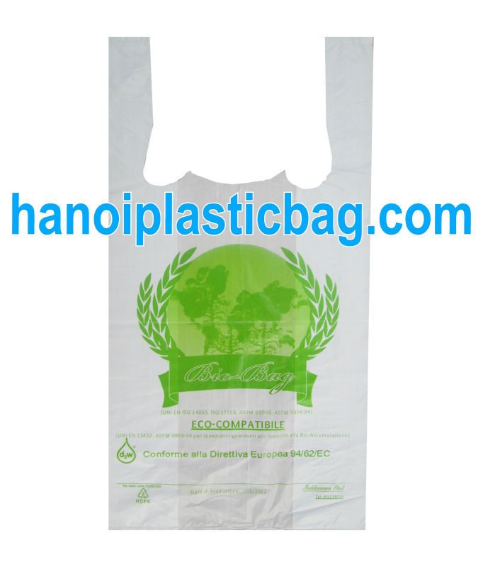 100% BIODEGRADABLE PLASTIC BAGS WITH T-SHIRT CARRIER COMPETITIVE PRICE
