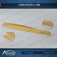 Gold Plated Slanted Tweezer with Comb under your customized brand logo/ Eyebrow Tweezers/ Eyebrow Extensions