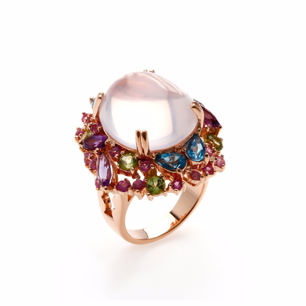 Rhodium Plated 925 Sterling Silver Ring with Rose Quartz, Amethyst, Blue Topaz, Yellow Sapphire and Premium Cubic Zirconia