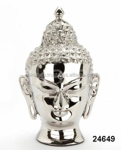 Buddha Head Nickel Plated Sculpture Urn