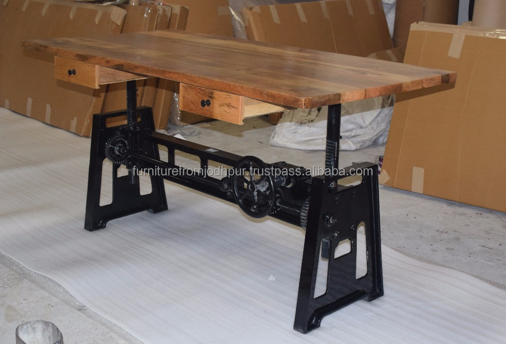 Industriale tavolo regolabile con ghisa gambe da jodhpur - Stili di mobili ...